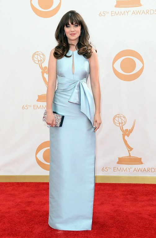 . Actress Zooey Deschanel arrives at the 65th Annual Primetime Emmy Awards held at Nokia Theatre L.A. Live on September 22, 2013 in Los Angeles, California.  (Photo by Jason Merritt/Getty Images)