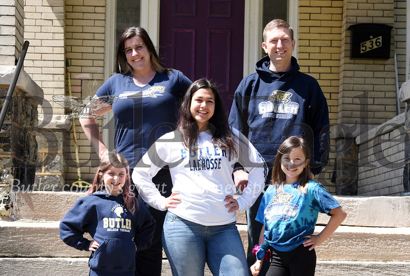 Harold Aughton/Butler Eagle: First row: From left, Karolyne Smail, 7, Elena Bongiovanni,17, Julianya, 9. Back row: Kathryn and Jonathan Smail.