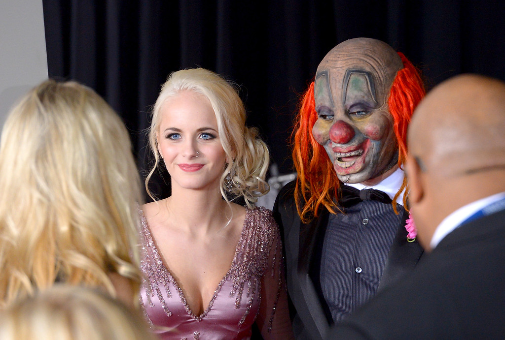 . Slipknot\'s Clown, Shawn Crahan, and guests arrive at the 56th Annual GRAMMY Awards at Staples Center in Los Angeles, California on Sunday January 26, 2014 (Photo by David Crane / Los Angeles Daily News)