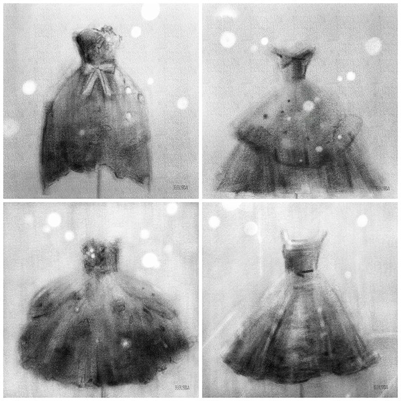A set of four black and white vintage fashion art prints by New York artist, Beverly Brown.