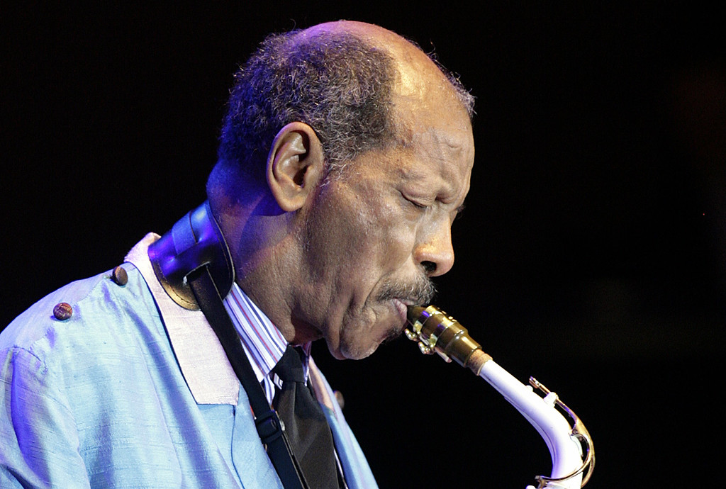 . U.S. jazz legend Ornette Coleman plays the sax during his only concert in Germany at the philharmonic concert house in Essen, Germany, Wednesday, Feb. 14, 2007. Coleman died on Thursday, June 11, 2015, in Manhattan. He was 85. (AP Photo/Martin Meissner)