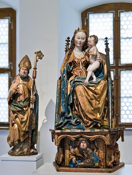 Nikolaus und Thronende Madonna; um 1490; Laubholz, Fassung weitg. orig.; wohl aus Nikolaikirche in Geyer bei Annaberg; Schlossbergmuseum Chemnitz