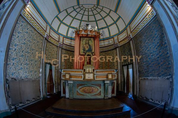 Mission of the Sacred Heart interior and exterior, Cataldo, Idaho