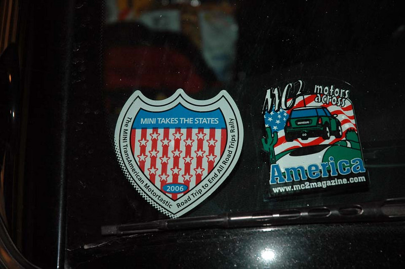 The official badge (left) of the MINI Takes The States Tour and the MC2 Magazine Motors Across America. It was lots of fun, even though it was only one leg of a two week+ road trip.