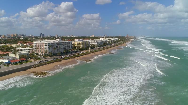 Aerial footage beachfront condominiums Palm Beach Florida USA 4k 60p