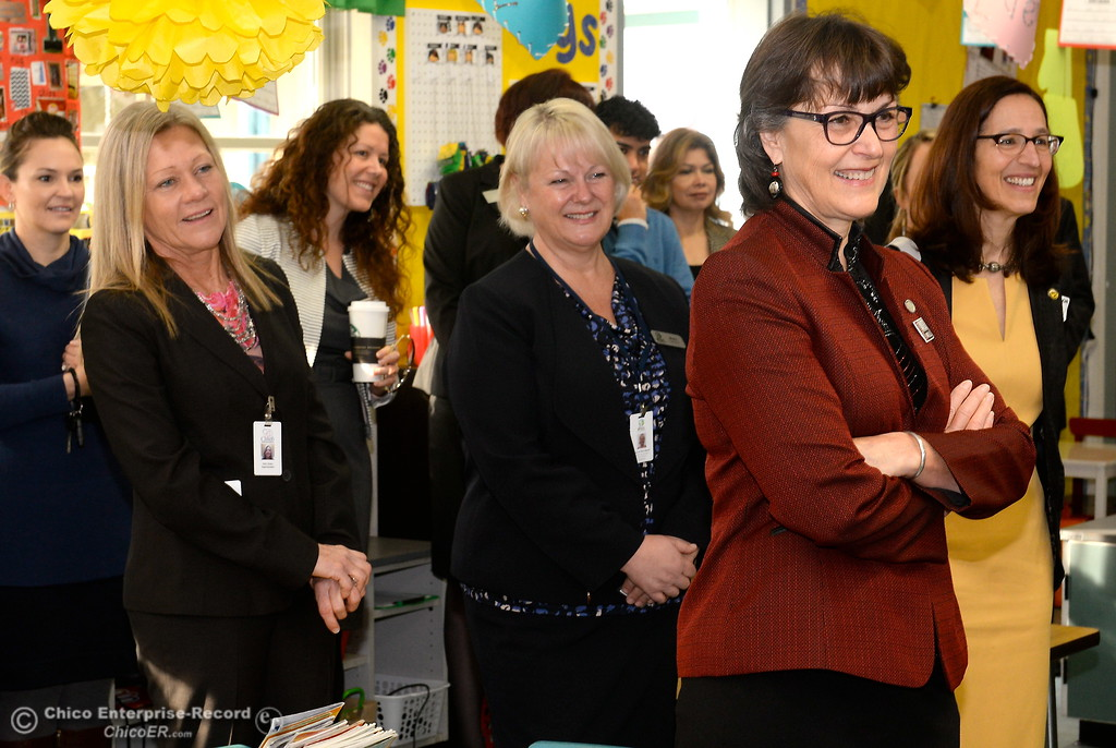 . Butte County Educational leaders smile as they are introduced to Becky Perry\'s kidergarten class as they gather at Little Chico Creek Elementary School in Chico, Calif. to sign the Butte County Promise Thursday Feb. 1, 2018. The Promise is to all students in Butte County for an opportunity at a college education. (Bill Husa -- Enterprise-Record)