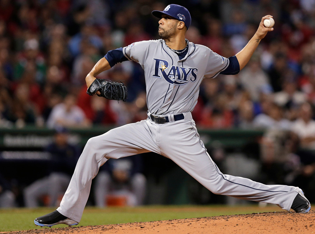 . Tampa Bay Rays starting pitcher David Price delivers against the Boston Red Sox during the third inning of Game 2 of baseball\'s American League division series, Saturday, Oct. 5, 2013, in Boston. (AP Photo/Charles Krupa)