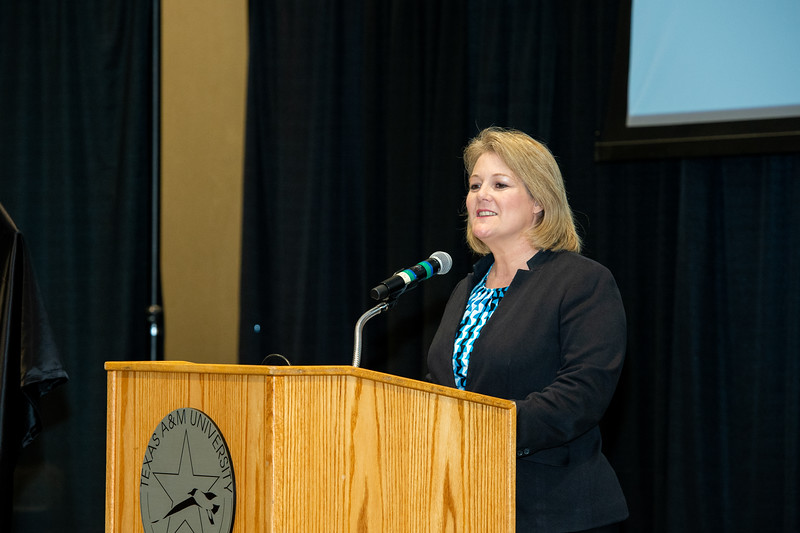 President and CEO of TAMU-CC Dr. Kelly Quintanilla welcomes attendees to the Furgason Engineering Building naming ceremony on December 7, 2018 at Texas A&M University-Corpus Christi.
