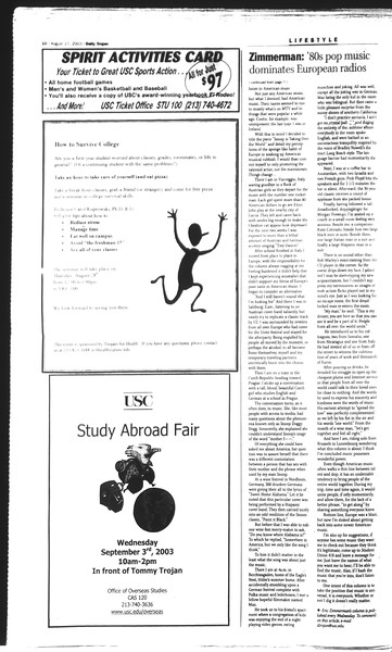Daily Trojan, Vol. 150, No. 3, August 27, 2003