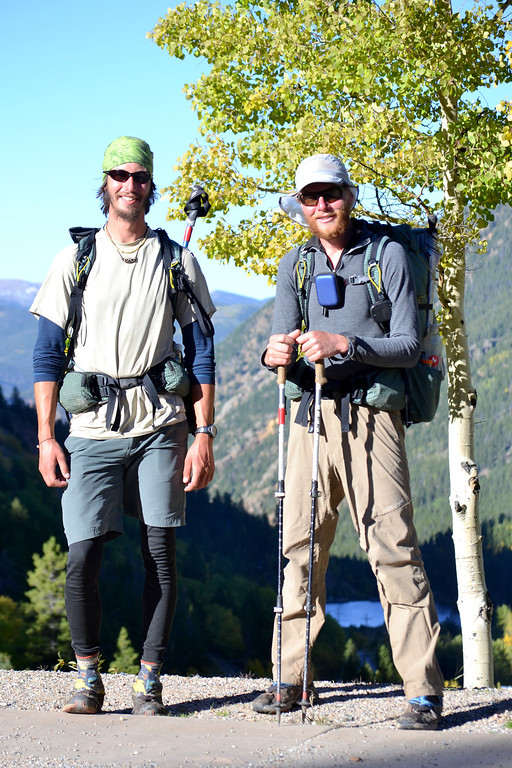 . Luke DeMuth, left and Junaid Dawud have hiked 1,300 miles and climbed 57 of the state\'s 58 14,000-foot peaks and plan to finish their 70-day mission Sunday on Longs Peak.