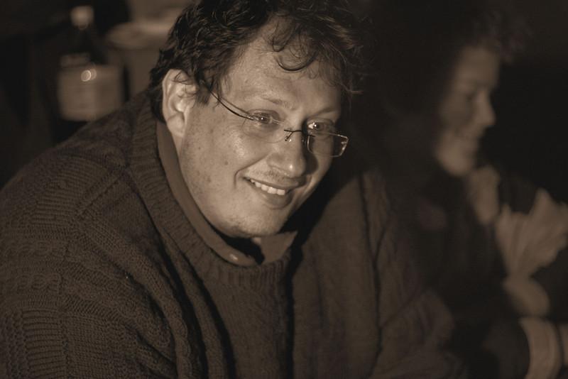 Dennis Adami, at night in the hut.