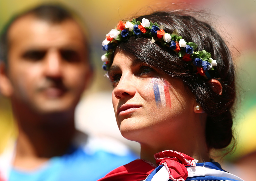 . A France fan enjoys the atmosphere prior to the 2014 FIFA World Cup Brazil Round of 16 match between France and Nigeria at Estadio Nacional on June 30, 2014 in Brasilia, Brazil.  (Photo by Quinn Rooney/Getty Images)