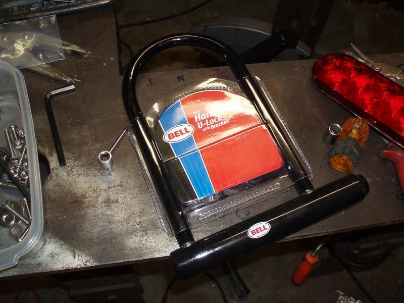"""PELICAN TOP CASE INSTALLATION:  I started with a U-Bar bicycle lock. It's important to find one with a locking """"notch"""" on both ends so it can be pulled straight off. Some U-Bars have a """"crook"""" on one end which wouldn't work here."""