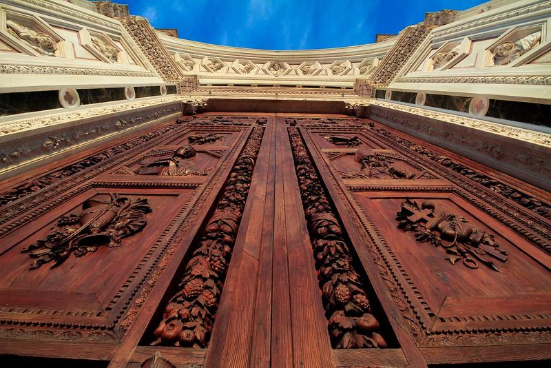 The majestic front doors of Basilica di Santa Croce.