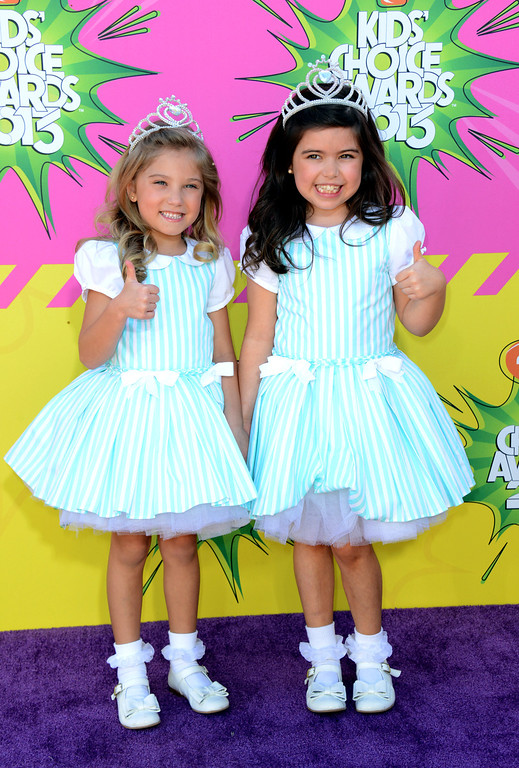 . Sofia Grace, right, and Rosie arrive at the 26th annual Nickelodeon\'s Kids\' Choice Awards on Saturday, March 23, 2013, in Los Angeles. (Photo by Jordan Strauss/Invision/AP)
