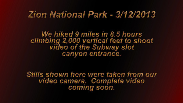 The Subway Video Preview, Zion NP - 3/12/2013