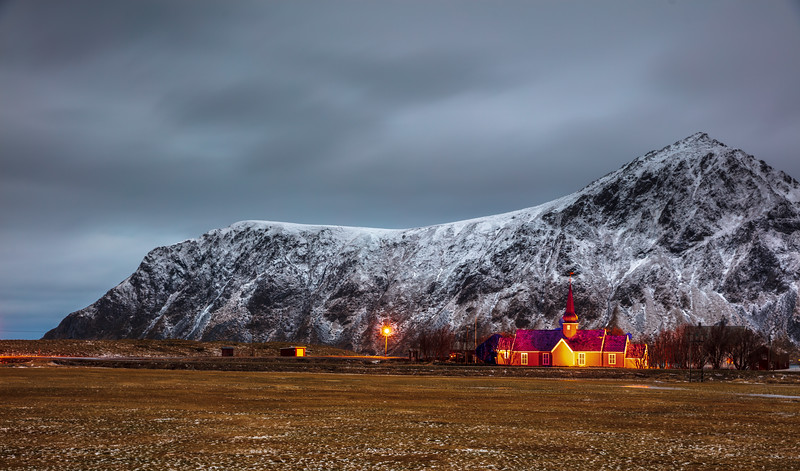 Church in the Lofoten landscape
