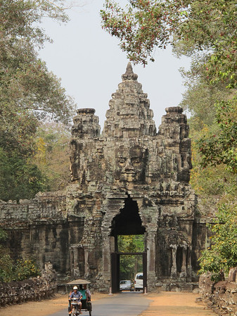 The South Gate at Angkor Tom in the Angkor Wat complex.