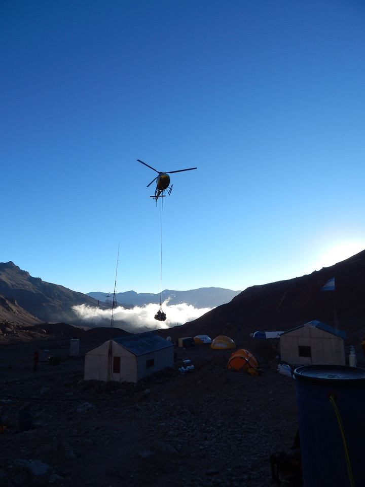 Helicopters are used to drop off supplies and move heavy things at Base Camp