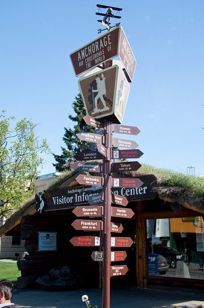Anchorage visitor center, mileage signs.