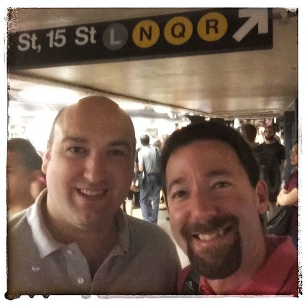 Two Adams / two dads just riding the NYC subway today. Great to see you my friend!