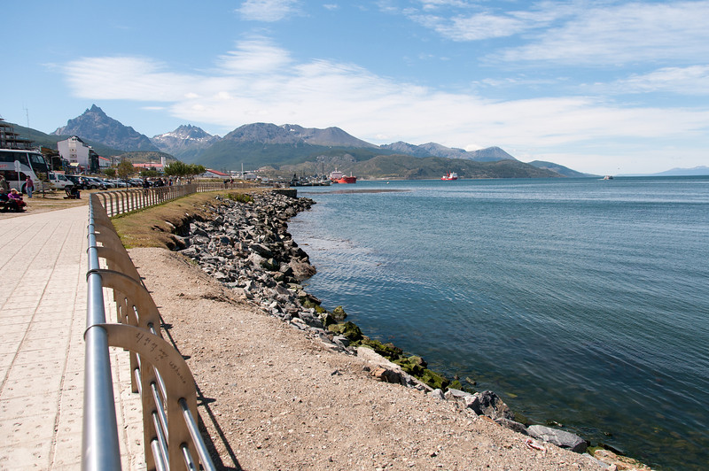 View of the coastline in Ushuaia, Argentina