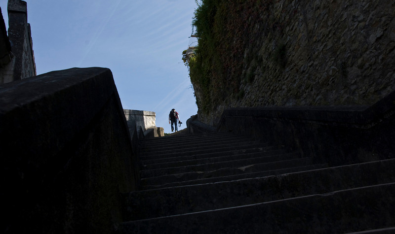 Stairs up to the medieval part of the city.