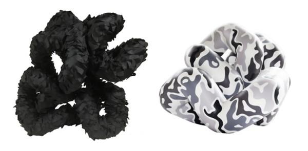 Black (52:90.45-88º), 2016, Nylon Netting, plastic, enamel paint on PVC pipe, 28 x 40 x 49 cm | White (17.90-90º), 2015, Acrylic on PVC pipe, 28 x 40 x 49 cm
