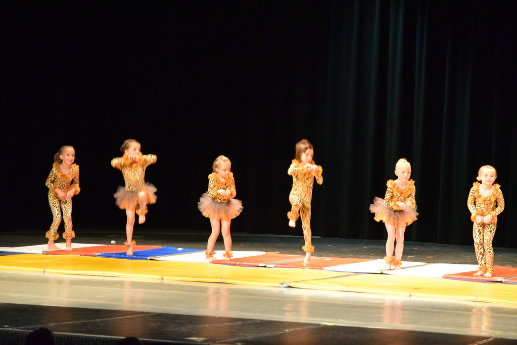 ". Chloee Kloberdanz, Mariah Perez, Adley Larraide, Victoria Hulbert, Syrie Richie, Gracie Abrahamson, Laurel Murphy, Aly Johnson, Alyssa Foos, Piper Dempcy, Bristol Cook, Mya DeMaria and Leila Warden dance to ""Pink Panther\"" at Melissa\'s School of Dance and Gymnastics\' \""Dance In Motion\"" recital Wednesday, June 13, 2018."