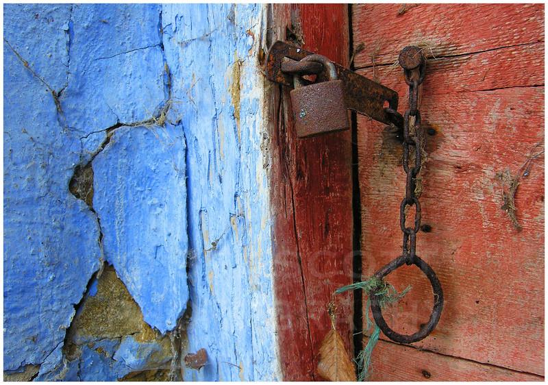 Door of an abandoned farm building, Eastern Slovakia.