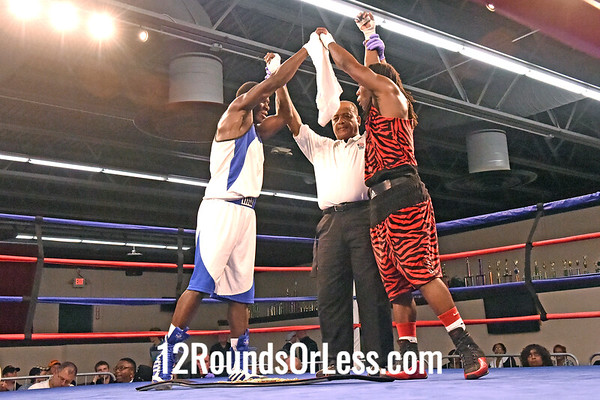 Bout 13=Main Event, Russell Scott, Red Gloves, Cleveland -vs- Octavius Webb, Blue Gloves, Glenville Rec, Lt. Heavywt