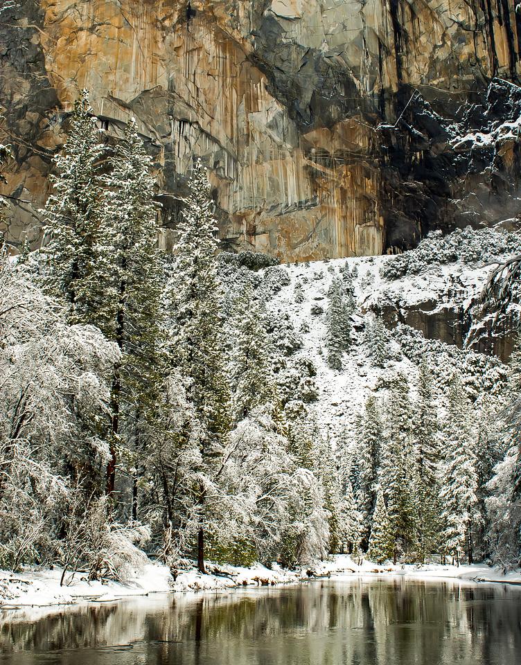 merced river winter reflection