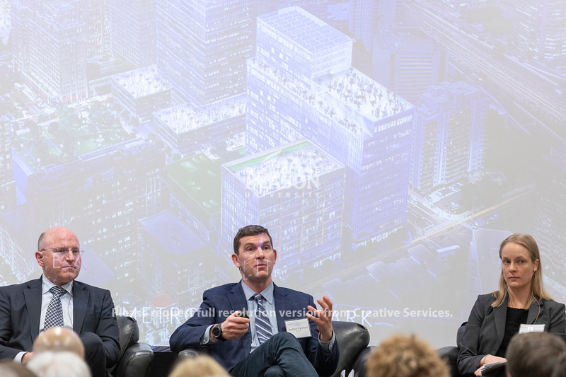 Andrew VanHorn, JBG Smith Executive Vice President, talks during a discussion about Amazon held by the Metropolitan Washington Council of Governments at George Mason University. Photo by Lathan Goumas/Strategic Communications