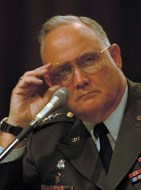 . Gen. Norman Schwarzkopf testifies before the Senate Armed Services Committee on Capitol Hill, Wednesday, June 13, 1991 in Washington. Schwarzkopf testified that women should be excluded from some combat roles. (AP Photo/Doug Mills)