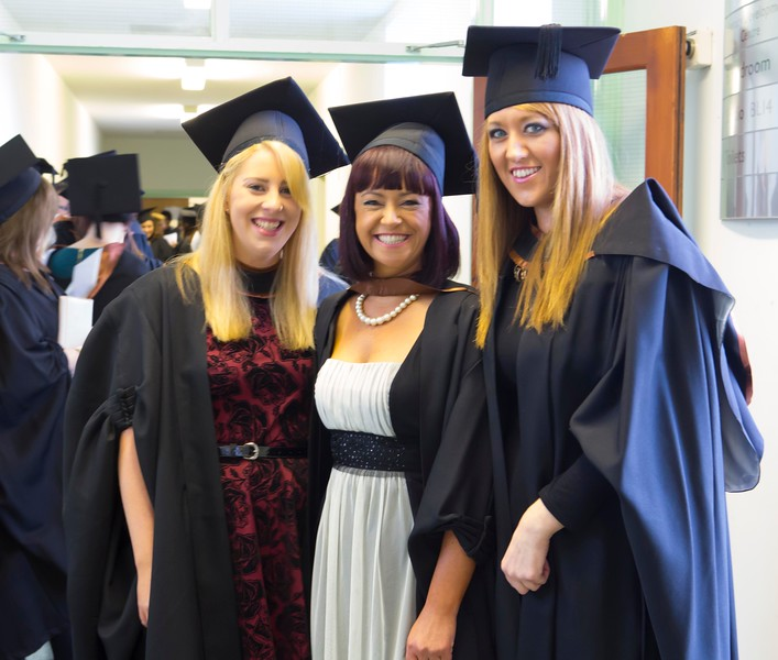 Waterford Institute Of Technology Conferring. Pictured at WIT Waterford Institute Of Technology Conferring are Sarah Barriscale, Waterford, Rebecca Beegan, Waterford, Amy Begadon, Waterford who graduated Bachelor of Arts (Honours) in Social Care. Picture: Patrick Browne