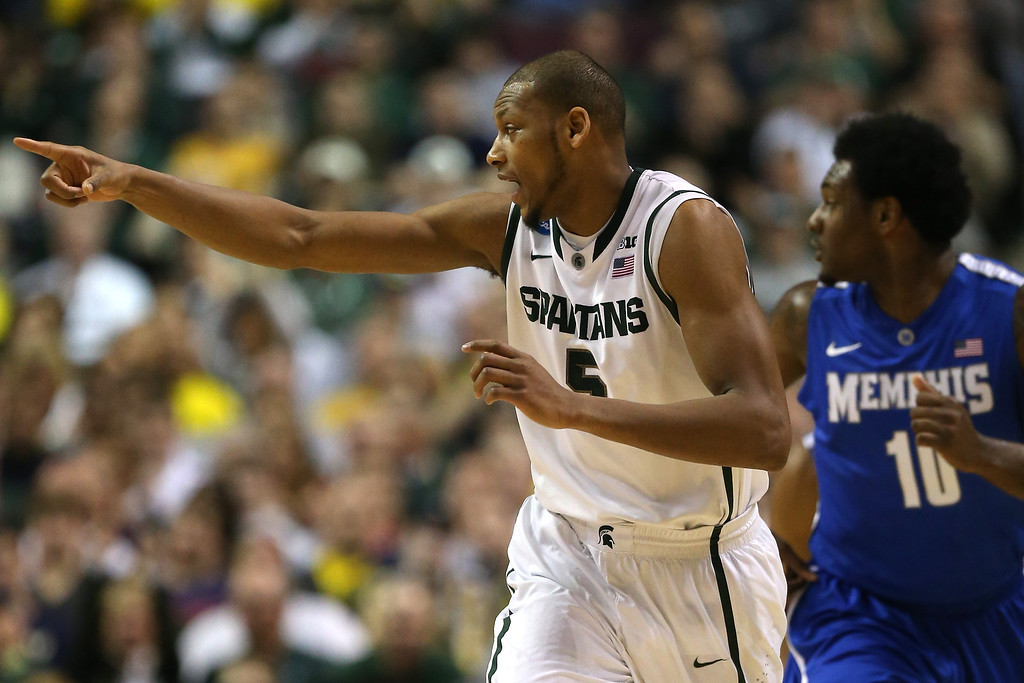 . AUBURN HILLS, MI - MARCH 23:  Adreian Payne #5 of the Michigan State Spartans reacts in the firts half against the Memphis Tigers during the third round of the 2013 NCAA Men\'s Basketball Tournament at The Palace of Auburn Hills on March 23, 2013 in Auburn Hills, Michigan.  (Photo by Jonathan Daniel/Getty Images)