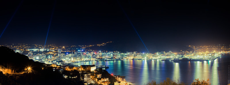 Wellington waterfront by night during the Rugby World Cup 2011