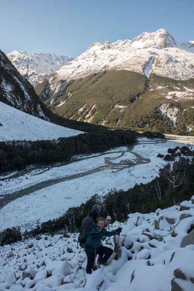 ..but somehow brought us back into the White Valley near the swingbridge. Not keen to go back into the snowy bush, we decided to go this open slide...