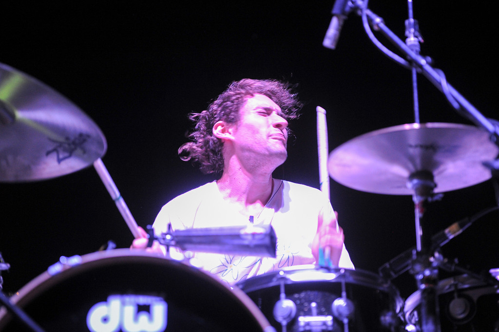 . Drummer Jeremy Hyman performs with Dan Deacon at FYF Fest in downtown L.A., Saturday, August 24, 2013. (Michael Owen Baker/L.A. Daily News)