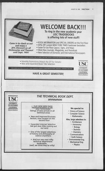 Daily Trojan, Vol. 129, No. 2, August 29, 1996