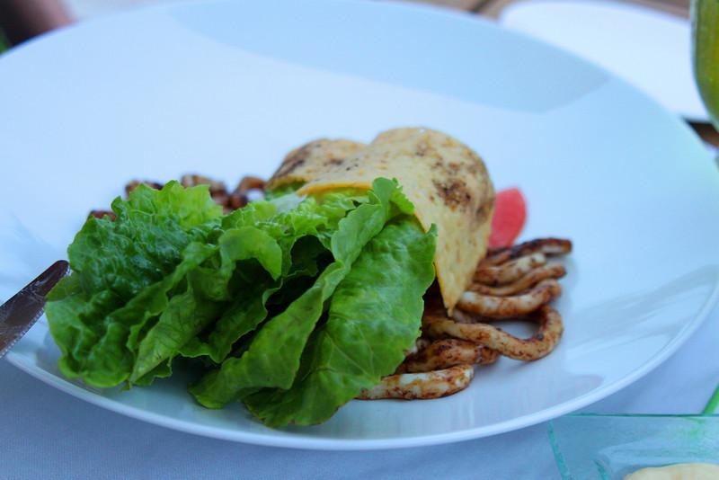 Myra's favorite meal: grilled calamari caesar salad.