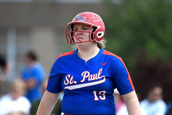 5/29/2018 Mike Orazzi | Staff St. Paul's Carolyn Marchak (19) during Tuesday's Class S First Round softball game with Windsor Locks in Bristol.