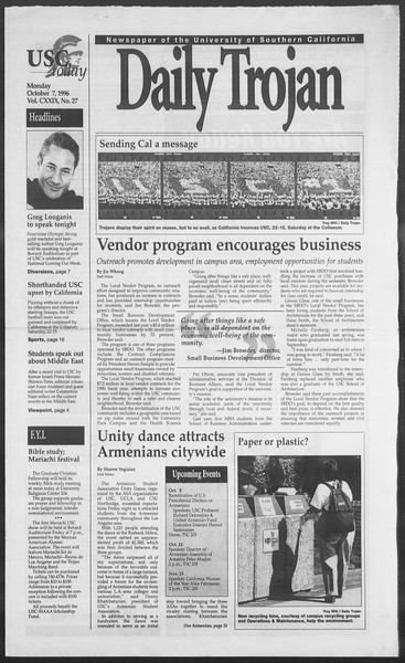 Daily Trojan, Vol. 129, No. 27, October 07, 1996