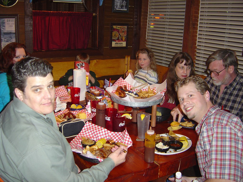At Famous Dave's. Picture taken by Sara .