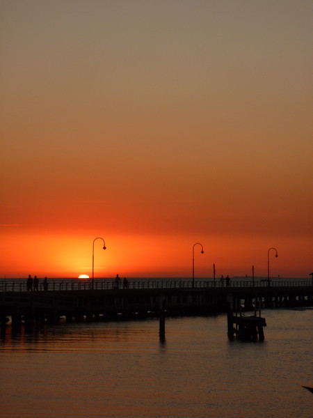 Sunset over St. Kilda beach. Who doesn't love sunset?