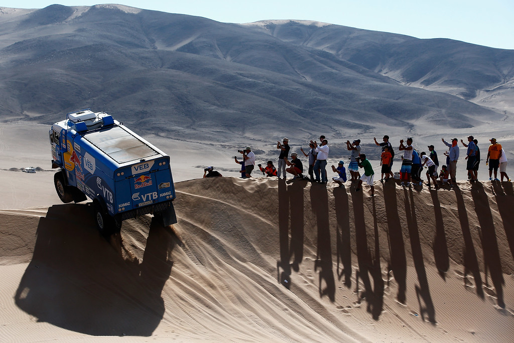 . COPIAPO, CHILE - JANUARY 07:  #500 Andrey Karginov, Andrey Mokeev and Igor Leonov of Russia for Team Kamaz Master compete during day 4 of the Dakar Rallly on January 7, 2015 between Chilecito in Argentina to Copiapo, Chile.  (Photo by Dean Mouhtaropoulos/Getty Images)