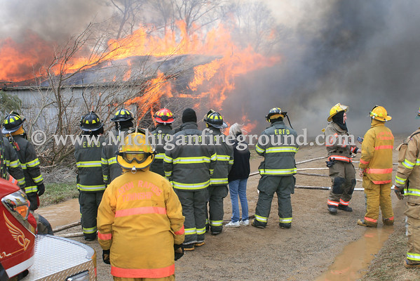 4/13/13 - Eaton Rapids Twp live burn training exercise, 148 S. Gunnell