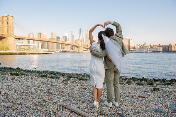 Pre Wedding Sunrise Brooklyn Bridge