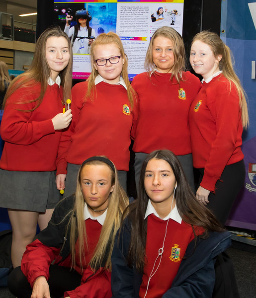 8/3/2018Image Free to UseWaterford Institute of Technology celebrate international women's day.Be brave in the choices you make – secondary school students hear on International Women's Day. Front from left; Lauren O'Keeffe and Caoimhe McGuinness. Back; Karen Ahearne, Caoimhe Vereker, Emma Lowe and Abbey O'Keeffe from Presentation Kilkenny.Photo;Mary Browne