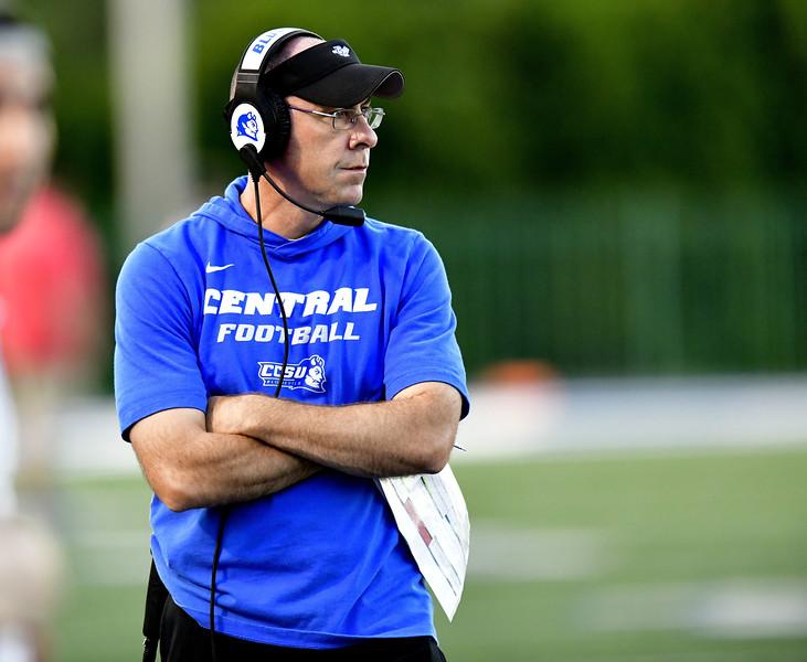 9/72019 Mike Orazzi | Staff CCSU Head Football Coach  Ryan McCarthy in New Britain on Saturday night.